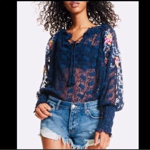 Free People Jubilees embroidered boho navy top